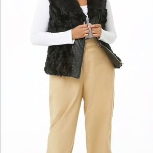 Jackets & Blazers - ‼️PLUS SIZE FAUX LEATHER AND FAUX FUR VEST‼️